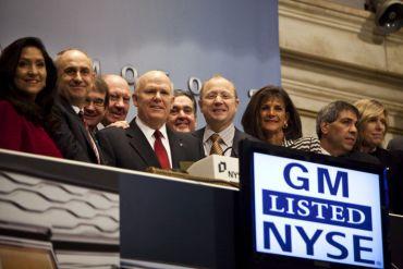 General Motors - 18,140 milliards de dollars. Le constructeur automobile américain, coté à New York et Toronto, était revenu sur le marché en 2010, moins d'un an et demi après sa faillite.
