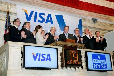 Visa Inc - 19,650 milliards de dollars. Le groupement américain de carte de crédits avait fait ses premiers pas à la Bourse de New York en 2008.