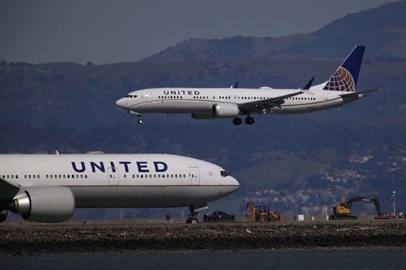Des appareils Boeing 737 Max appartenant au transporteur United.
