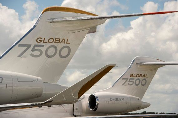 La queue d'avion Global 7500.