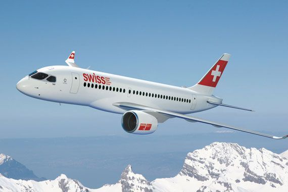 Un avion de la C Series aux couleurs de Swiss