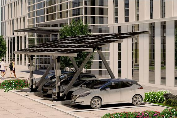cet abri d auto solaire qu b cois rehaussera la valeur de votre voiture lectrique. Black Bedroom Furniture Sets. Home Design Ideas