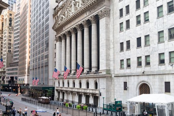 La devanture de la Bourse de New York