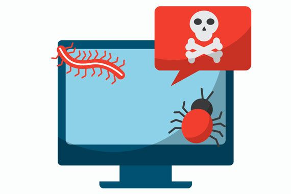 Illustration d'un écran d'ordinateur infecté par un virus informatique.