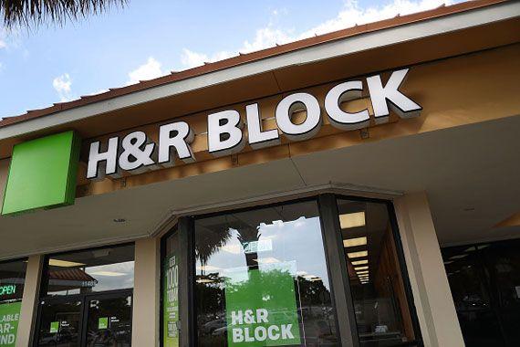 La façade d'un bureau d'H&R Block.