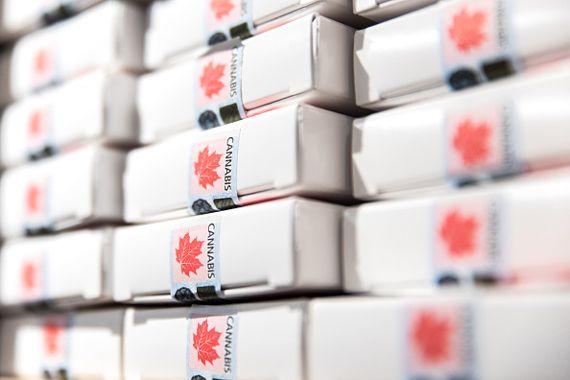 Des boîtes de cannabis dans une SQDC