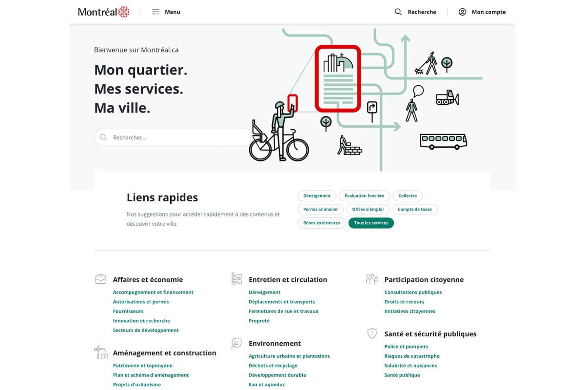 Le site web de la ville de Montréal